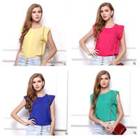 Women Short Sleeve T Shirt Fly Sleeve Chiffon Lady Fashion P...