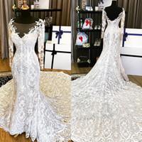 Hot Sale 2017 Sheer Mermaid Wedding Dresses Long Sleeves Lac...