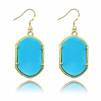 Le plus récent Kendra Scott Style Drop Earrings Accessoires Gold Plated Fashion Geometry Crytal Earring Jewelry For Women Gifts
