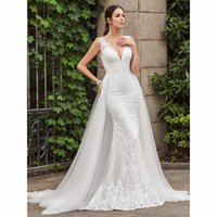 Sexy V- Neck Backless Overskirts Mermaid Wedding Dresses Cust...