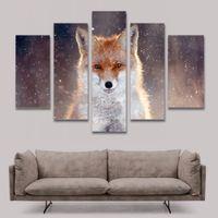 5 Панель Живопись Fox Картина на холсте изображениями животных на стене Картины для гостиной Спальня Домашнее украшение Unframed