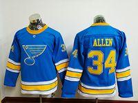Wholesale Youth St. Louis Blues #34 Jake Allen Authentic Nav...