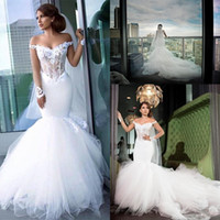 Великолепная Русалка с плеча Sheer с длинным рукавом свадебные платья Sexy Иллюзии Лифы нижней части спины собор Поезд vestidos де Novia халатов