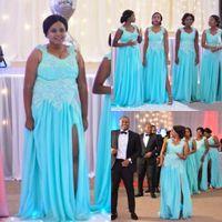 Sky Blue Элегантный Плюс размер Длинные платья Beidesmaid Scoop декольте с аппликацией Guest Платья Назад Zipper Side Split на заказ вечерние платья