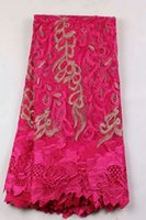 5 Yards pc Gorgeous fuchsia french net lace fabric embroider...