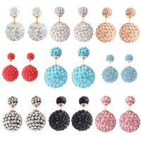 2017 presentes de valentim Shamballa Ball Double Face Broches Pearl Stud Earrings Jóias Double Side Statement Crystal Earrings
