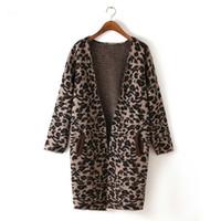 Оптово-Шерсть Loose Leopard Patchwork карманные V-образным вырезом вязание женщин кардиганы Весна Зима Теплый женщин вскользь Длинные свитера дизайн пальто