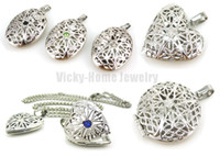 Wholesale- hot selling silver oval perfume diffuser locket p...