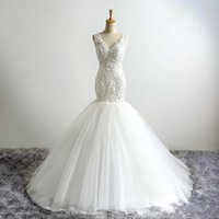 2017 Real Picture V- Neck Sexy Mermaid Wedding Dresses New Cu...