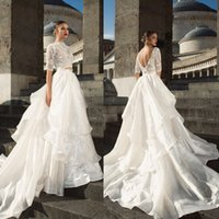 Julievino 2017 Lace Tiered Skirts Wedding Dresses Delicate A...
