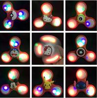 8 дизайнов Pikachu светодиодные ручные отбойные молотки Cartoon Fidget Spinners светодиодные ручные счетчики люминесцентные фонарики для декомпрессии Handspinners CCA5923 100шт