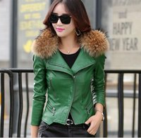 Real fur collar Leather jacket women Coat female outerwear 2...