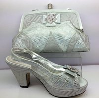 2017 fashion African shoes and bag set high heel dress shoes...