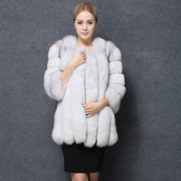 Wholesale- Fashion Women Faux Fox Fur Coat Long Style Winter ...