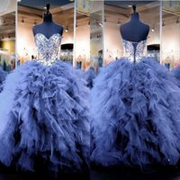 Sparkling Sweetheart Neckline Quinceanera Dresses Beads Crys...
