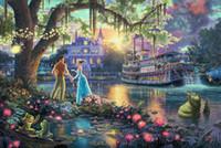001, Принцесса и лягушка Картина Кинкейд масло, HD Art печати Оригинал Холст Главная Декор стены, Мультифункциональный размер, свободная перевозка груза, Рамку