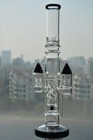 16 pouces Base solide noire Bijoux droits en verre avec fentes roche perc Tuyau en verre avec joint de 18 mm