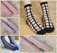 2016 Glass silk grid socks geometric cored transparent cryst...