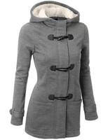 Autumn Hooded Horn Button Coat Women Winter Parkas Grey Outw...