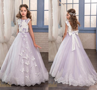 Vintage Lace Arabic 2017 New Flower Girl Dresses Crew Ball G...