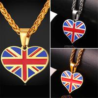 U7 New Hot Square / Heart Shape Collier pendentif en drapeau national en Angleterre Collier en acier inoxydable / plaqué or UK Collier / hommes Bijoux Cadeaux GP2446