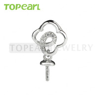 9PM154 Teboer Jewelry 5pcs / LOT Floral 925 Sterling Silver Zircon Montage Blank for Drop Pearl Pendant