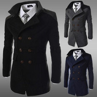 Double Breasted Mens lã mistura inverno Trench Coat Plus Size Overcoat manga comprida Wild Clássico negócio Trench frete grátis