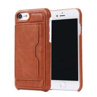Pour iphone 7 Portefeuille Cuir revêtue cas pour iphone 6 6S plus cas dur avec PU Cover Stand carte Slots Holder