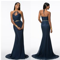 Navy Blue Sexy Backless Evening Dresses Hand Made Sheath Hal...