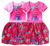 Trolls Girls Dress Summer Splicing Princess Short- sleeved Dr...