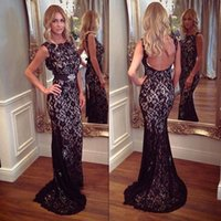 2017 Black Lace Evening Dresses Gowns Sheer Neck Mermaid Bac...