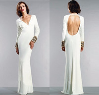 2016 V Neck White Evening Dresses Elegant Long Sleeves Sexy ...