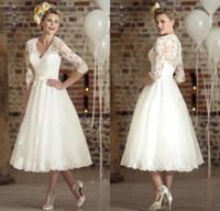 Vestidos De Novia Short Wedding Dresses Three Quarter Sleeve...