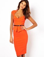 Hot Selling Ruffle Summer Bodycon Dresses V Neck Pencil Dres...