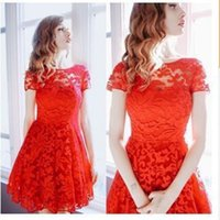 2017 Women Floral Lace Dresses Short Sleeve Party Casual Col...
