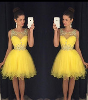 2017 New Yellow Short Homecoming Dresses Sheer Neck Beaded C...