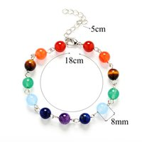Hot Women 7 Chakra Bracelet Agate Tiger Eyes Amethyst Crysta...