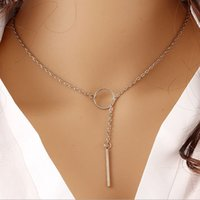 Metal ring short necklace 2- color optional Clothing accessor...