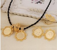 hot sell Ethiopian Big Coin Cross Pendant Necklace Earring R...