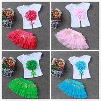 Summer Girls Lace Flower T- shirts+ Tutu Dress Children Kids ...
