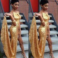 Ballkleider 2017 New Arrival High Side Slit Gold Prom Dresse...