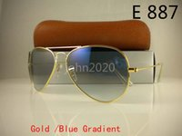 Mens Womens Pilot Sunglasses Designer Sun Glasses Gradient Alloy Metal Gold Blue Lens de vidro 58mm 62mm Original Case Box