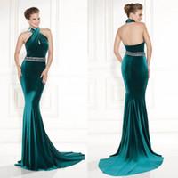 Velvet Backless Mermaid Evening Dresses Halter Shiny Beaded ...