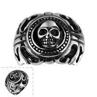 2017 vintage skull ring Fashion punk rock titanium steel cit...