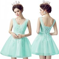 Cheap 2017 Short Homecoming Vestidos A Line V Neck Tulle Appliques Frisado com Lace-up Back Royal Blue Mint Green Cocktail Prom Vestidos CPS341
