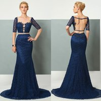 Lace Navy Blue Backless Mermaid Evening Dresses Custom Made ...