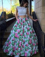 New Arrival Floral Print Open Back 2 Pieces Prom Dresses 201...