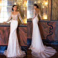 Vintage Millanova 2017 Mermaid Wedding Dresses Sheer Neck La...