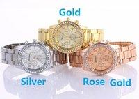 Las señoras de lujo de Ginebra visten el diamante del cuarzo Los relojes análogos del regalo del mens del reloj de la aleación de acero del metal miran 3 colores DHL liberan