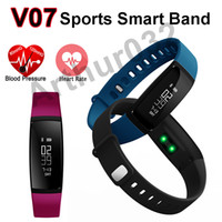 Smart banda de pressão arterial V07 Pulseira Watch Monitor de freqüência cardíaca SmartBand Wireless Fitness Tracker Pedômetro Bluetooth para Android IOS Phone